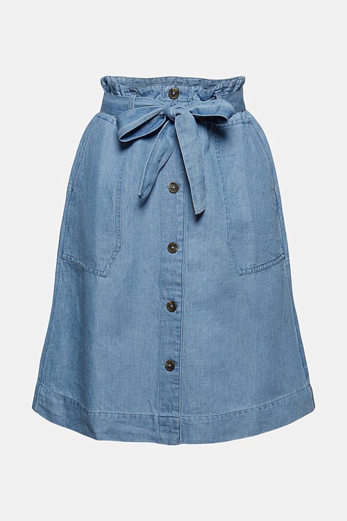 Linen blend: paperbag-style denim skirt