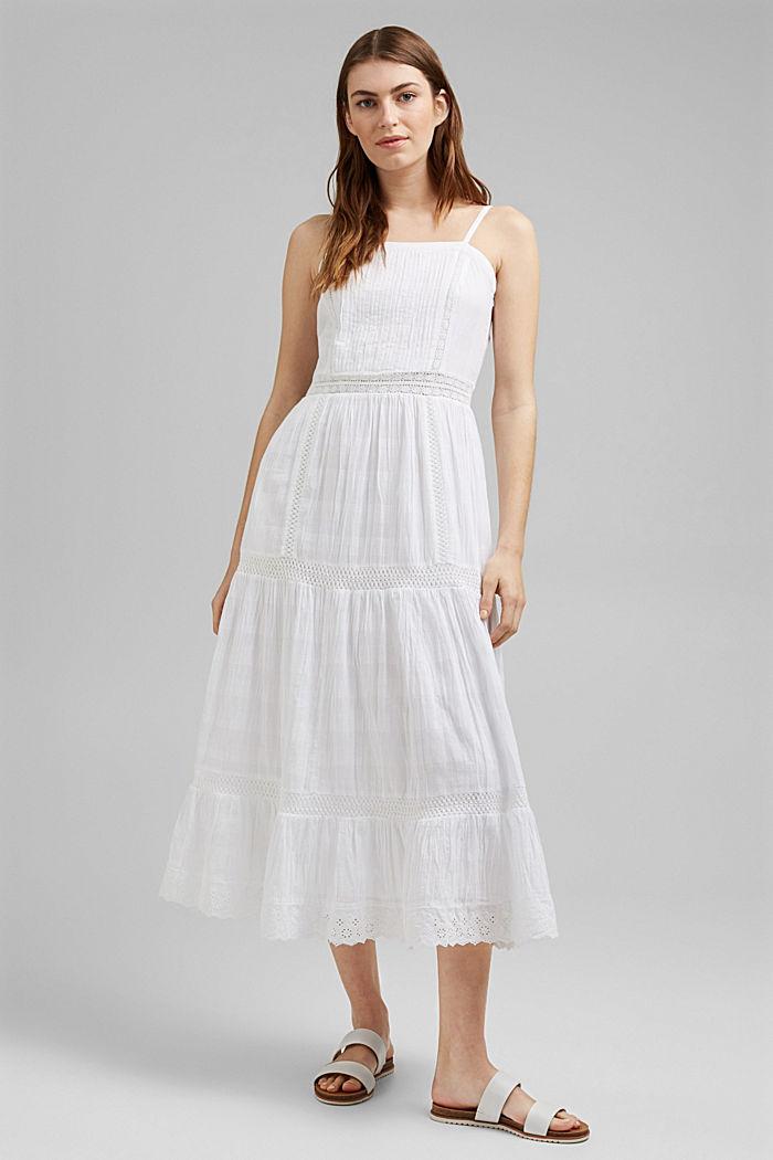 Vestido midi con encaje de ganchillo, 100% algodón ecológico