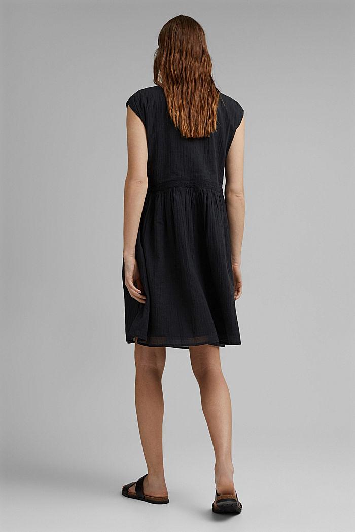 Voile-Kleid aus Bio-Baumwolle mit Spitze, BLACK, detail image number 2