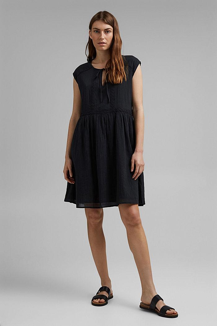 Voile-Kleid aus Bio-Baumwolle mit Spitze, BLACK, detail image number 1