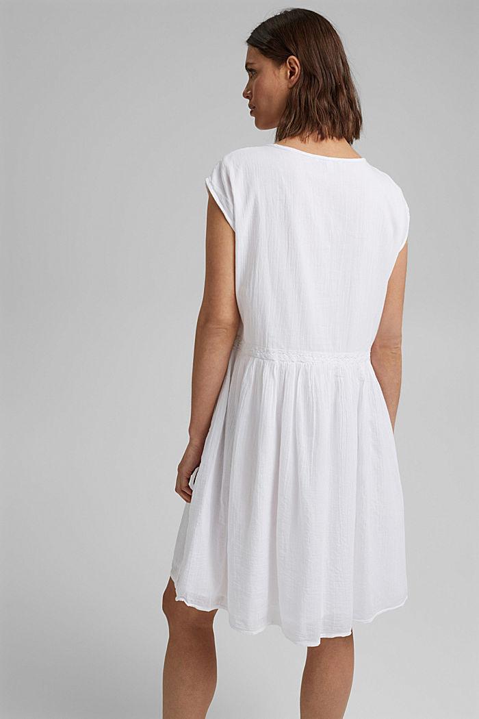 Voile-Kleid aus Bio-Baumwolle mit Spitze, WHITE, detail image number 2
