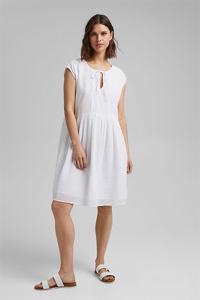 Voile-Kleid aus Bio-Baumwolle mit Spitze, WHITE, detail image number 1