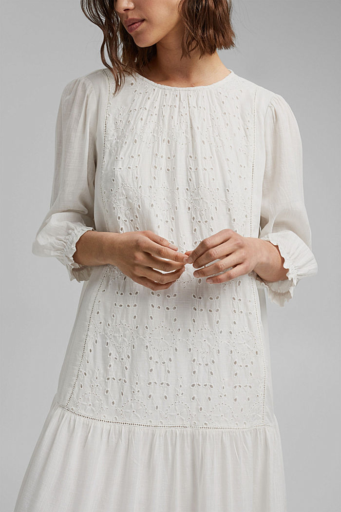 Dress with broderie anglaise, OFF WHITE, detail image number 3