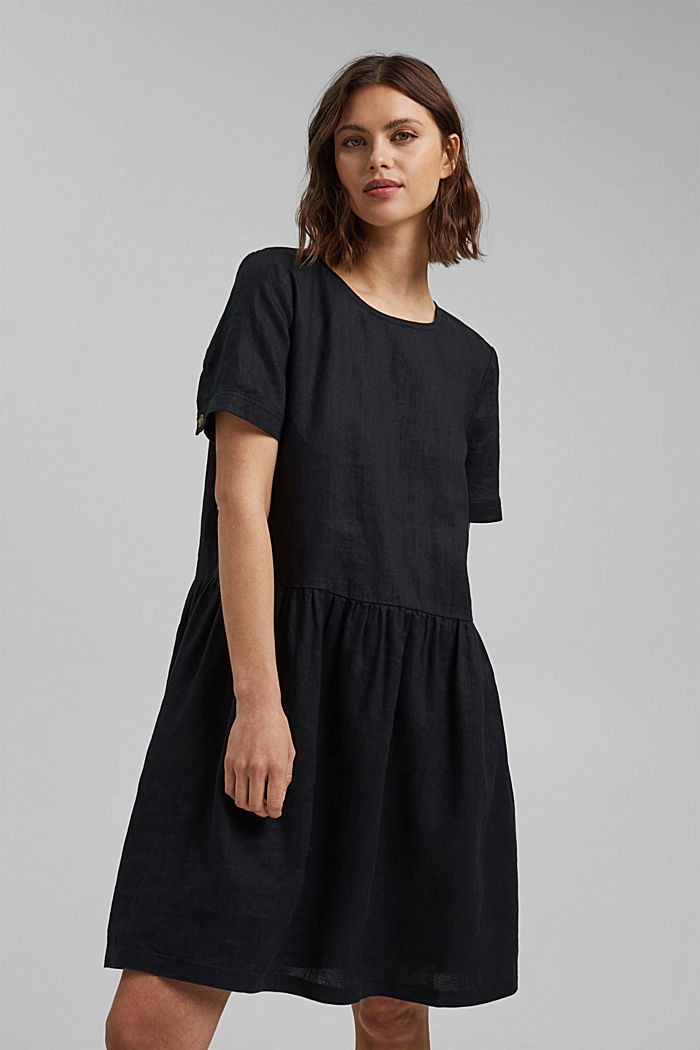 Aus Leinen: Kleid mit Knopf-Details