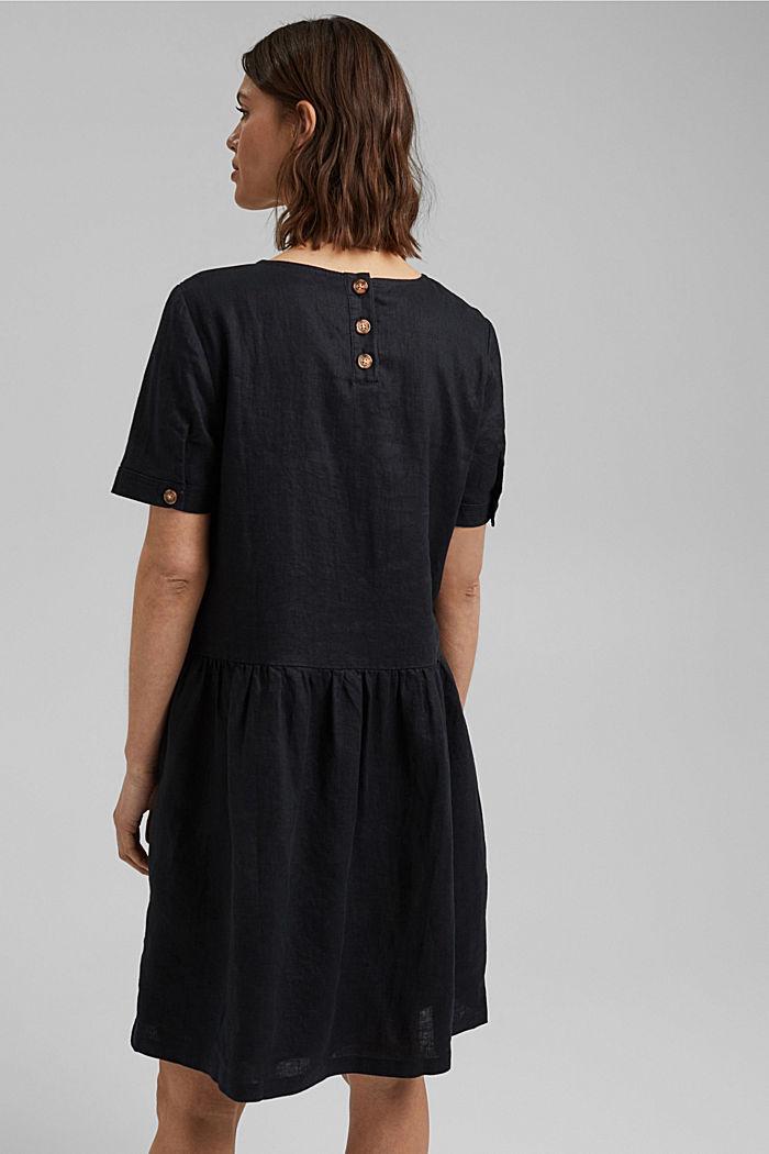 Ze lnu: šaty s knoflíky, BLACK, detail image number 2