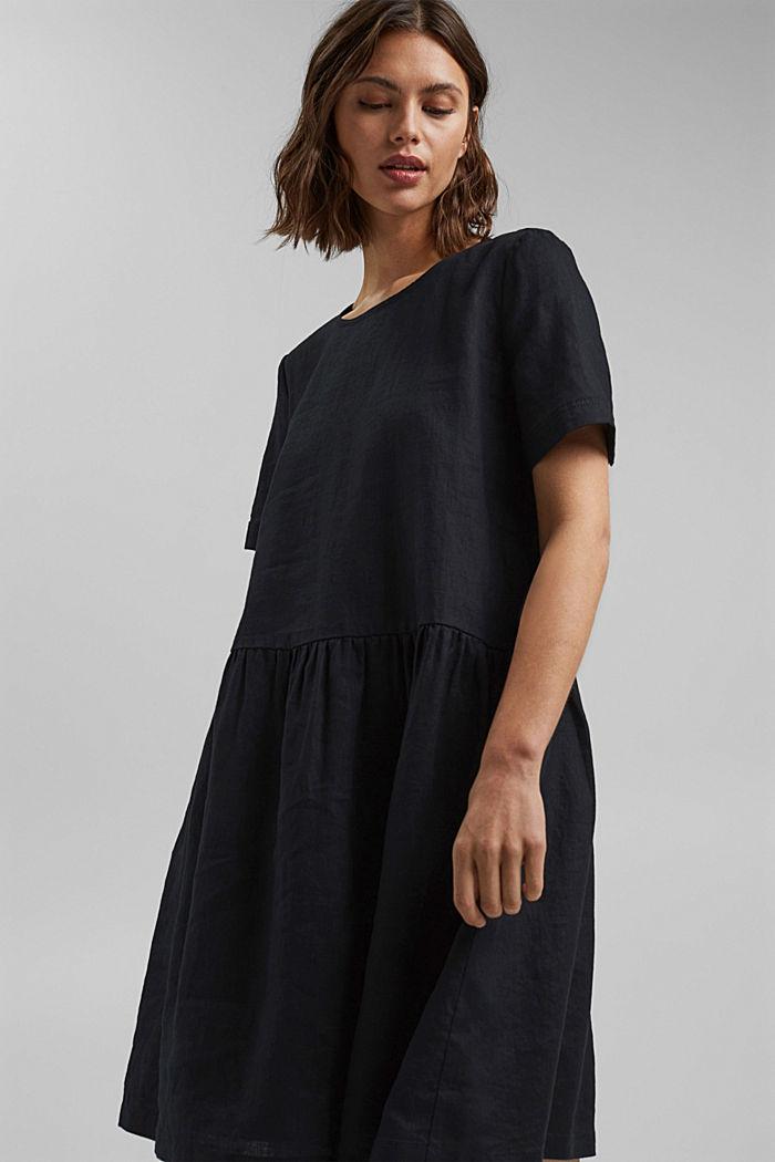Ze lnu: šaty s knoflíky, BLACK, detail image number 5