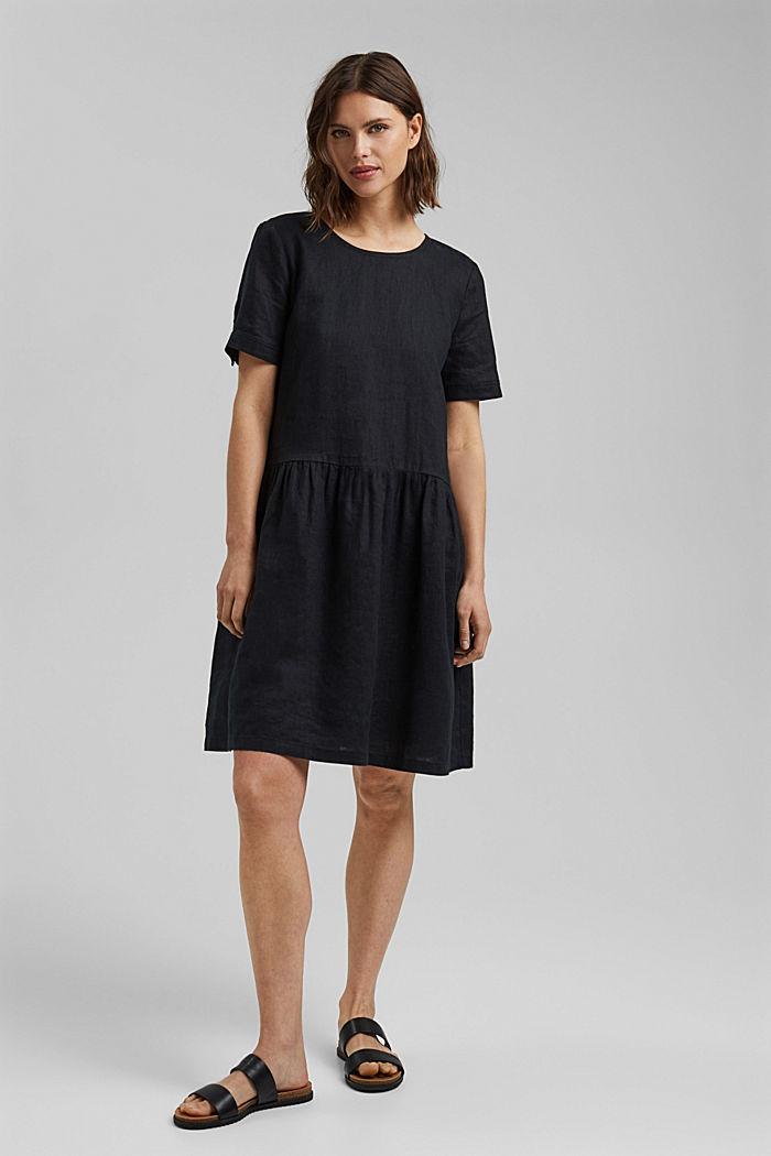 Ze lnu: šaty s knoflíky, BLACK, detail image number 1