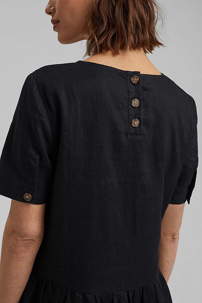 Ze lnu: šaty s knoflíky, BLACK, detail image number 6