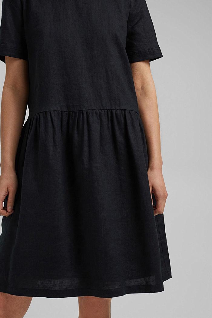 Ze lnu: šaty s knoflíky, BLACK, detail image number 3