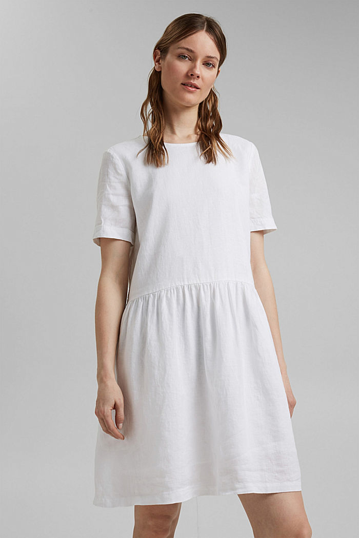 Made of linen: dress with button details, WHITE, detail image number 0