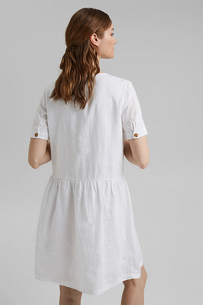 Made of linen: dress with button details, WHITE, detail image number 2