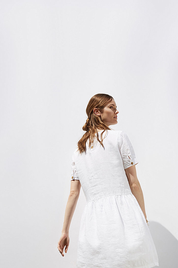 Made of linen: dress with button details, WHITE, detail image number 5