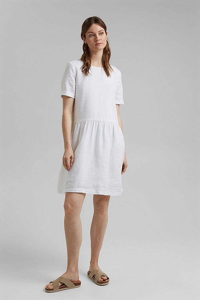 Made of linen: dress with button details, WHITE, detail image number 1