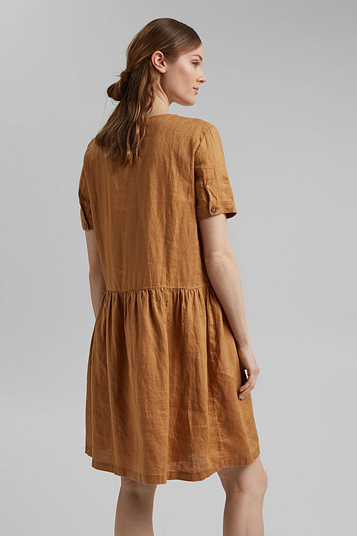 Made of linen: dress with button details, CAMEL, detail image number 2