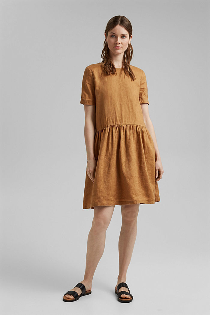 Made of linen: dress with button details, CAMEL, detail image number 1