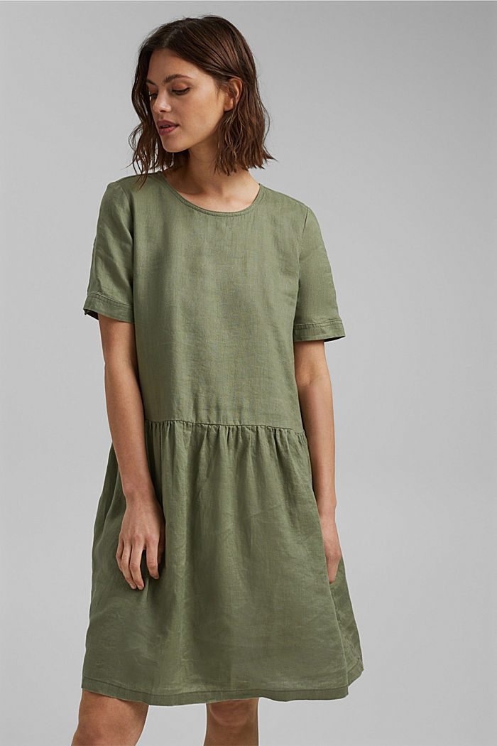 Made of linen: dress with button details, LIGHT KHAKI, detail image number 0