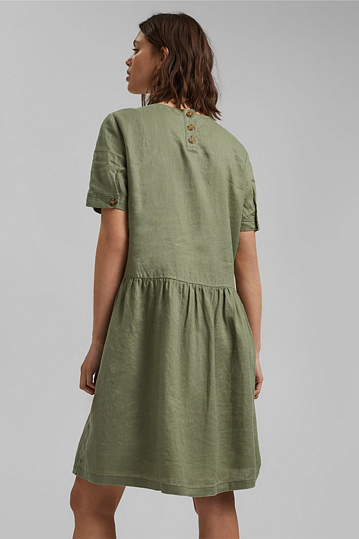 Made of linen: dress with button details, LIGHT KHAKI, detail image number 2