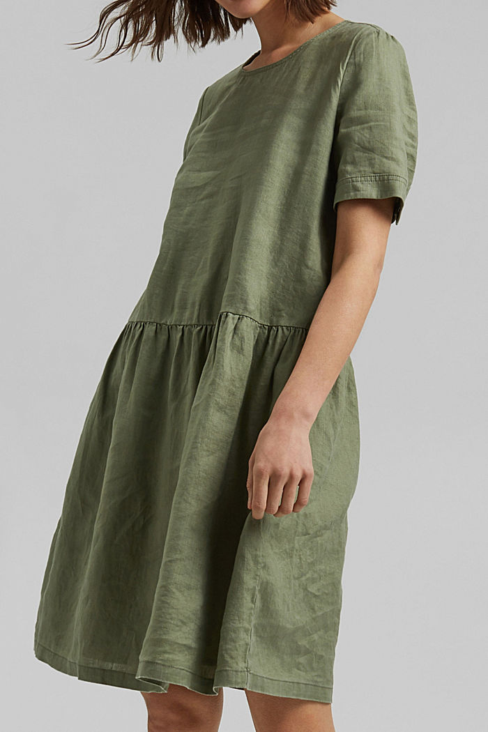Made of linen: dress with button details, LIGHT KHAKI, detail image number 5