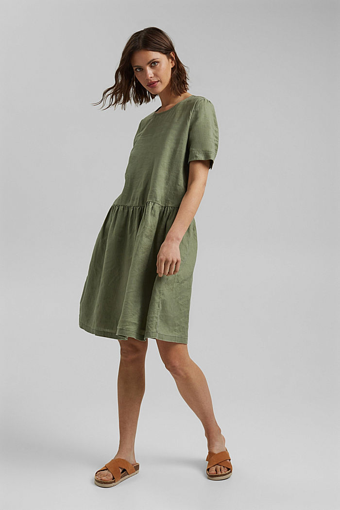 Made of linen: dress with button details, LIGHT KHAKI, detail image number 1