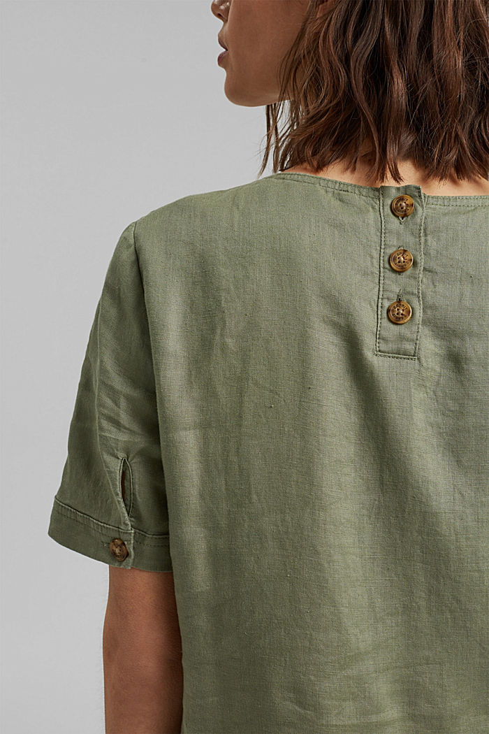 Made of linen: dress with button details, LIGHT KHAKI, detail image number 3