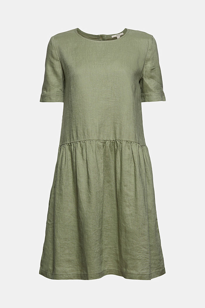 Made of linen: dress with button details, LIGHT KHAKI, detail image number 7
