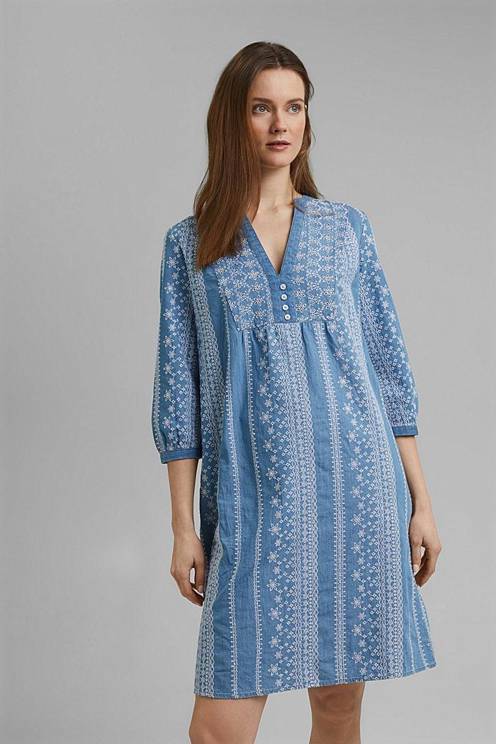 Geborduurde jurk met denim look. 100% katoen, BLUE MEDIUM WASHED, detail image number 0