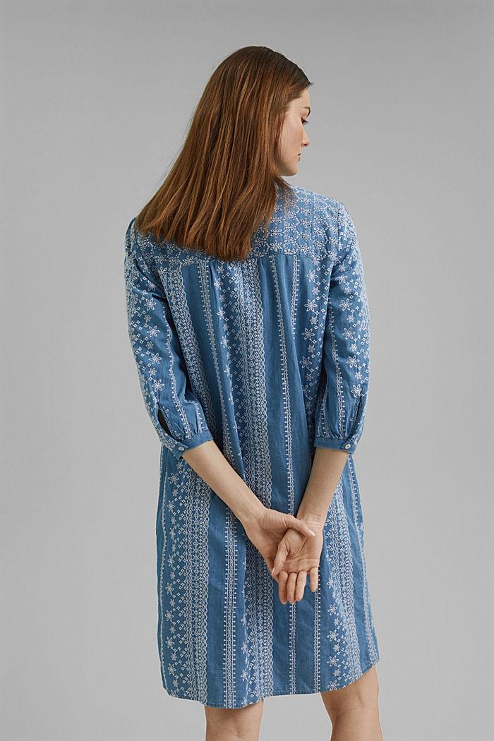 Geborduurde jurk met denim look. 100% katoen, BLUE MEDIUM WASHED, detail image number 2