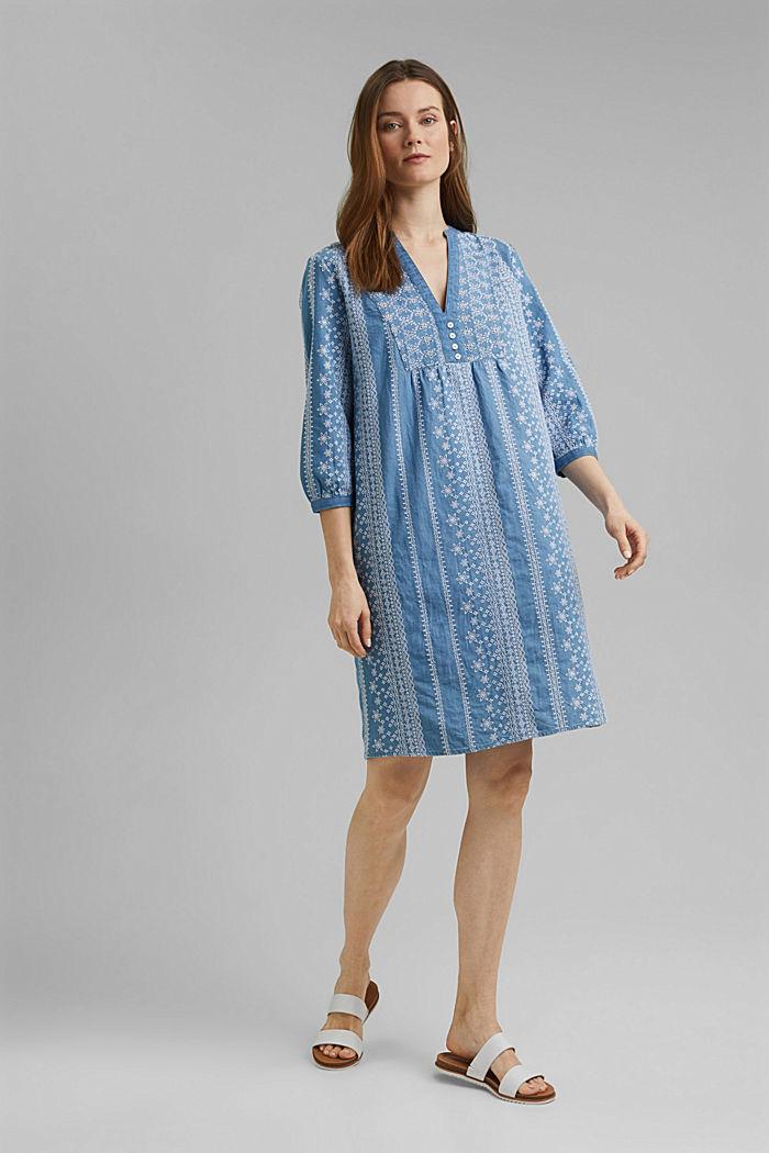 Geborduurde jurk met denim look. 100% katoen, BLUE MEDIUM WASHED, detail image number 1
