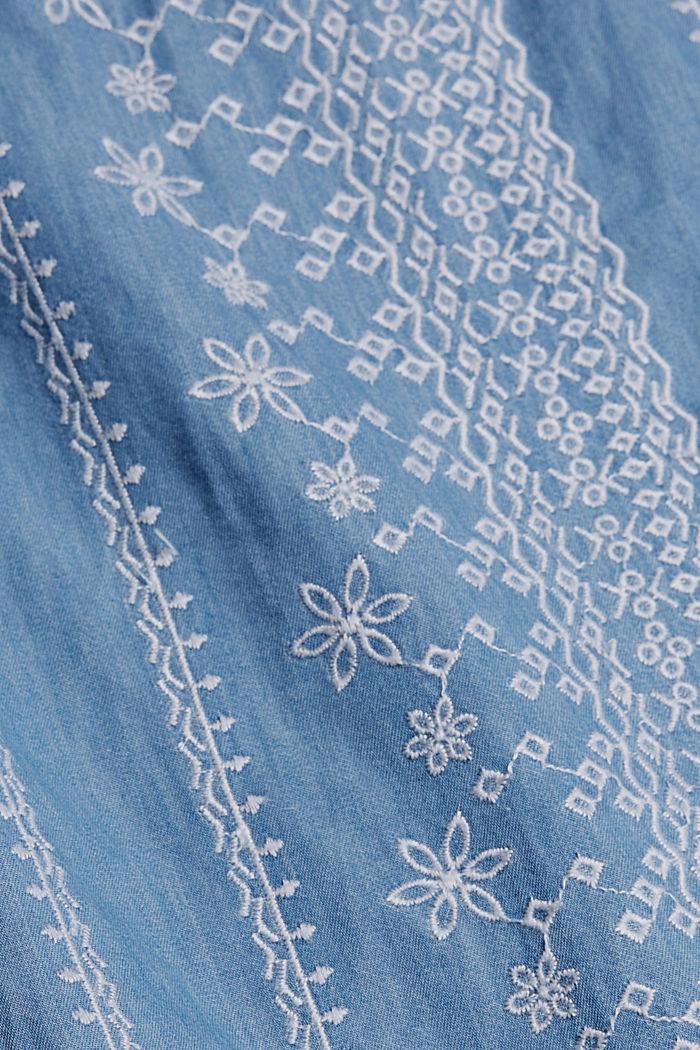 Geborduurde jurk met denim look. 100% katoen, BLUE MEDIUM WASHED, detail image number 4