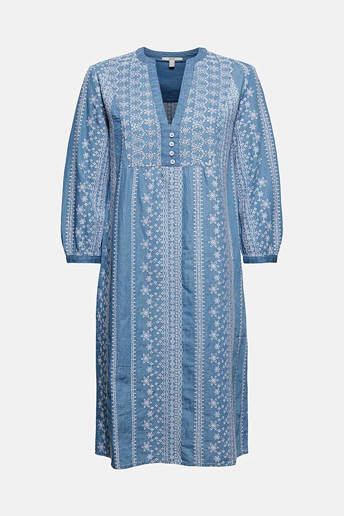 Geborduurde jurk met denim look. 100% katoen, BLUE MEDIUM WASHED, detail image number 6