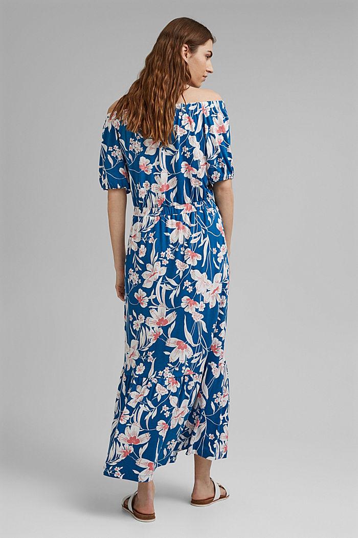 Gebloemde maxi-jurk met carmenhals, LENZING™ ECOVERO™, BRIGHT BLUE, detail image number 2