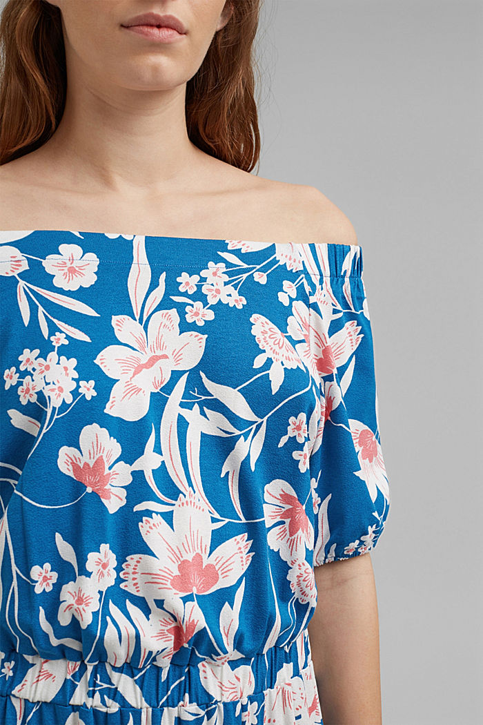 Gebloemde maxi-jurk met carmenhals, LENZING™ ECOVERO™, BRIGHT BLUE, detail image number 3