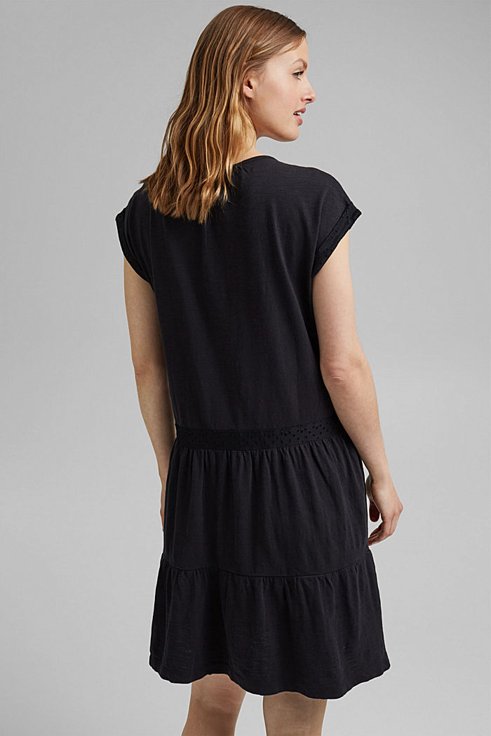 Jersey dress with broderie anglaise, organic cotton, BLACK, detail image number 2