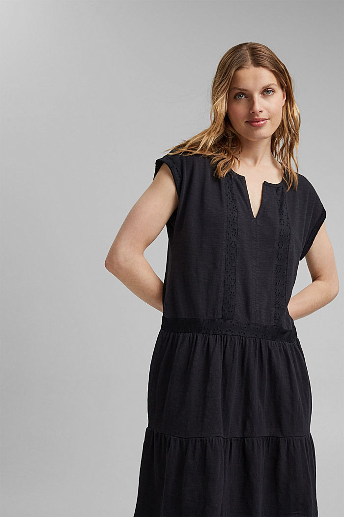 Jersey dress with broderie anglaise, organic cotton, BLACK, detail image number 5