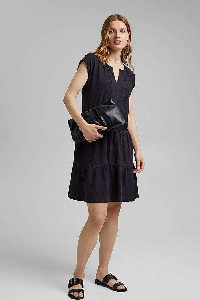 Jersey dress with broderie anglaise, organic cotton, BLACK, detail image number 1