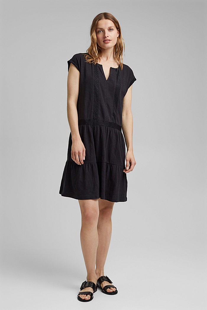Jersey dress with broderie anglaise, organic cotton, BLACK, detail image number 6