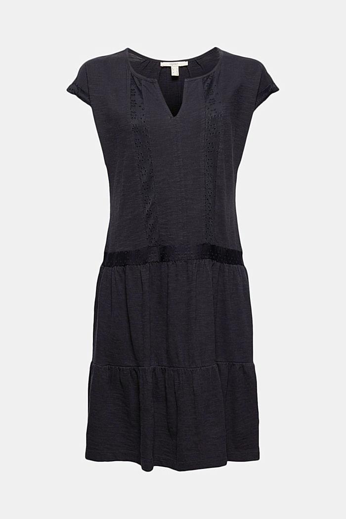 Jerseykleid mit Lochspitze, Bio-Baumwolle