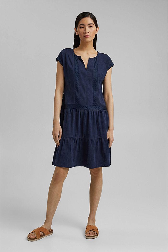 Jersey jurk met broderie, biologisch katoen, NAVY, detail image number 1