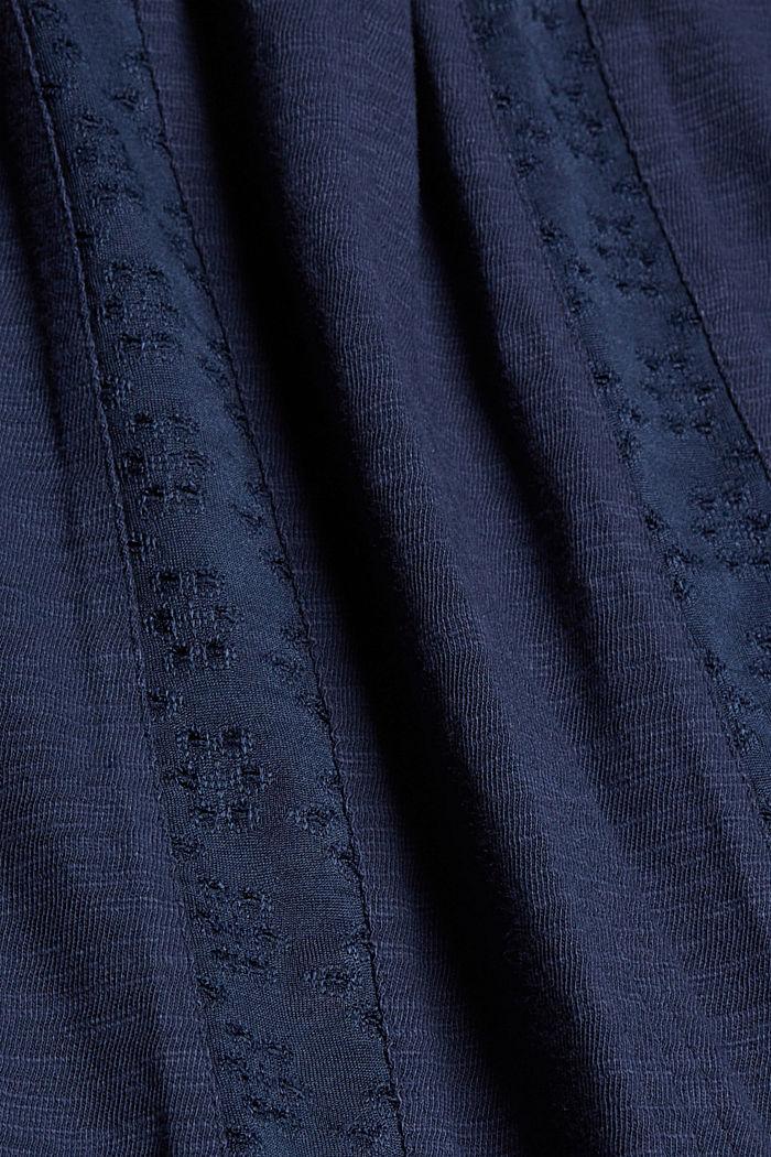 Jersey jurk met broderie, biologisch katoen, NAVY, detail image number 4