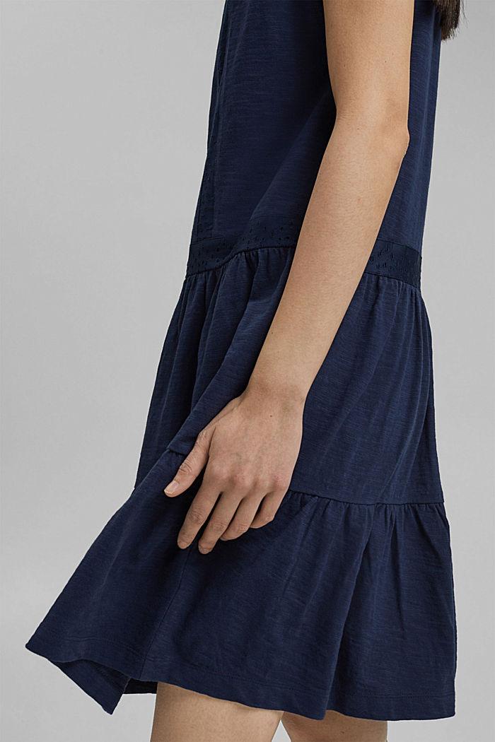 Jersey jurk met broderie, biologisch katoen, NAVY, detail image number 6