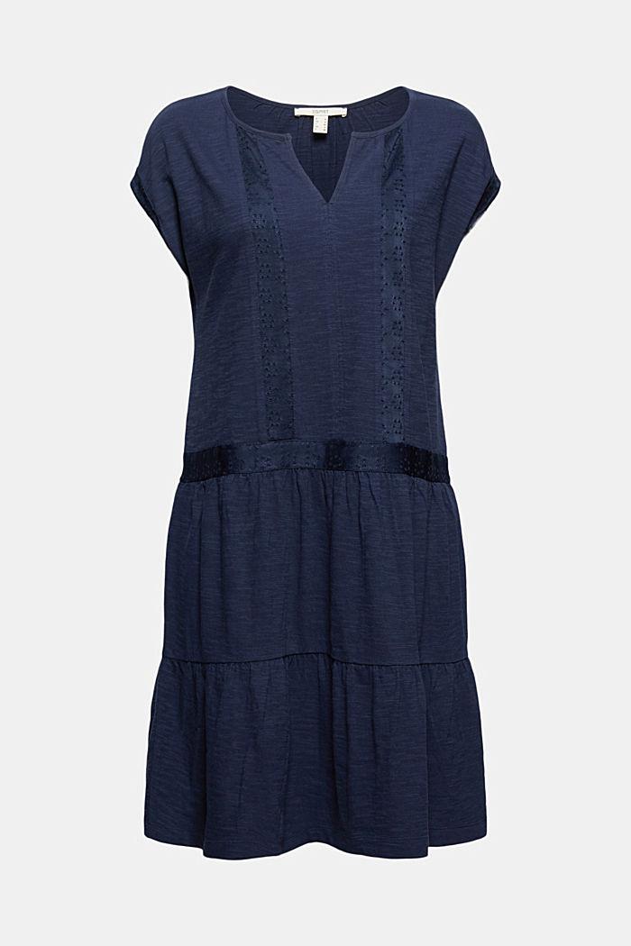 Jersey jurk met broderie, biologisch katoen, NAVY, detail image number 8