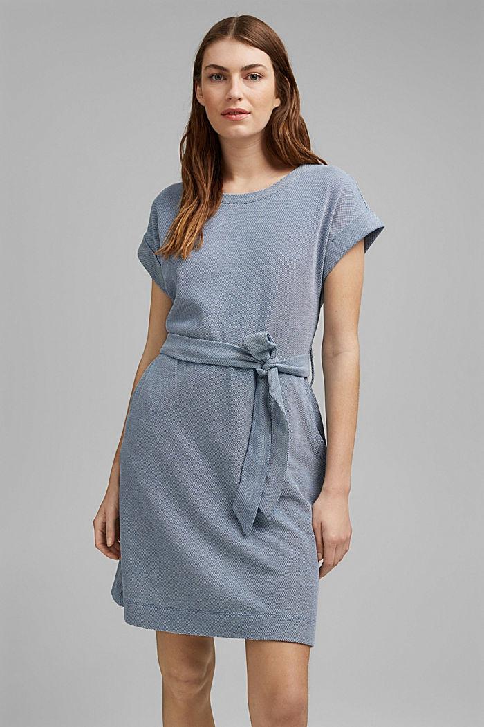 Žerzejové šaty páskem, 100% bio bavlna, BRIGHT BLUE, detail image number 0