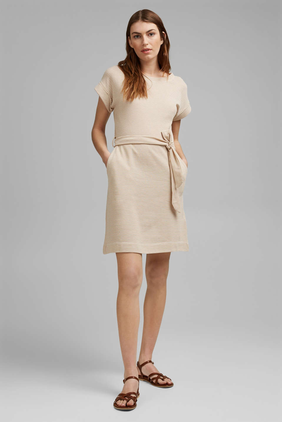 Esprit - Textured jersey dress, organic cotton