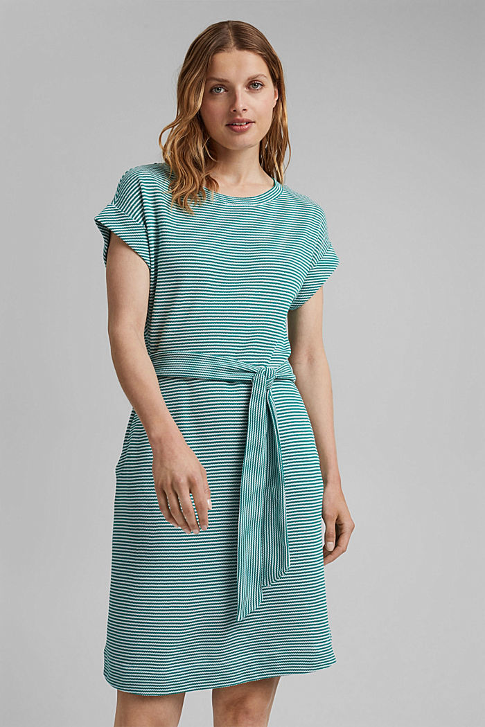 Textured jersey dress, organic cotton