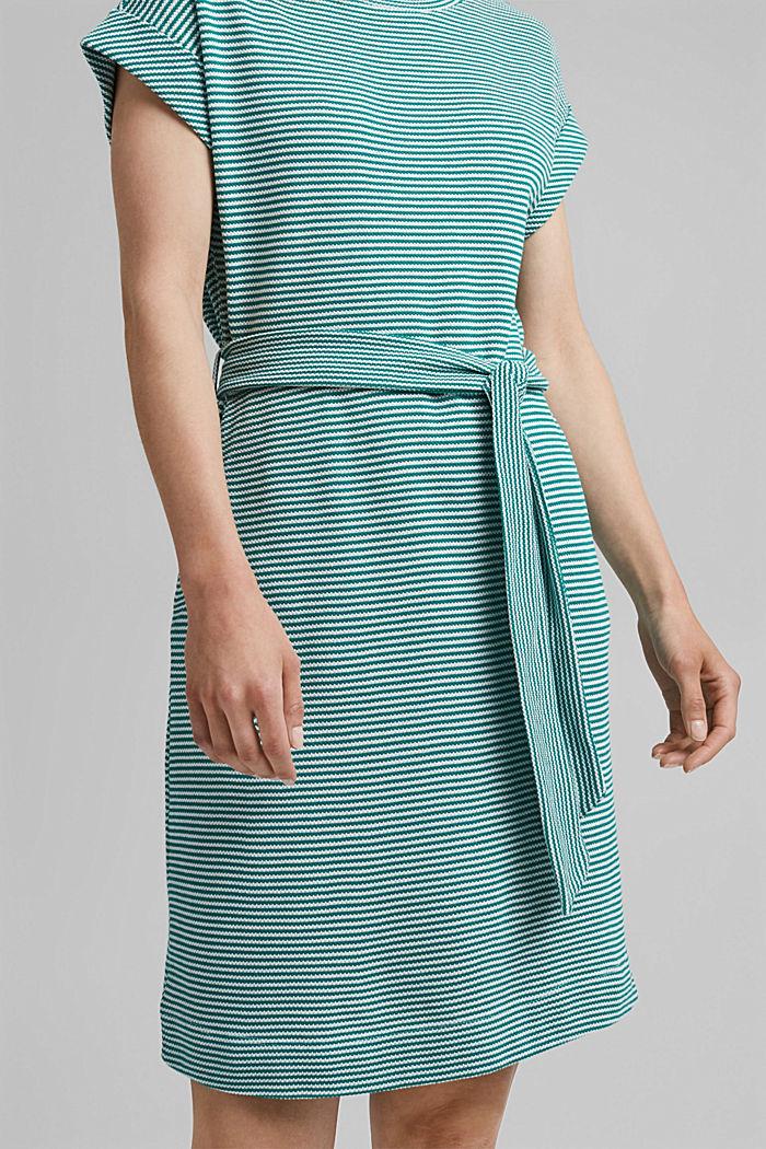 Textured jersey dress, organic cotton, TEAL GREEN, detail image number 3