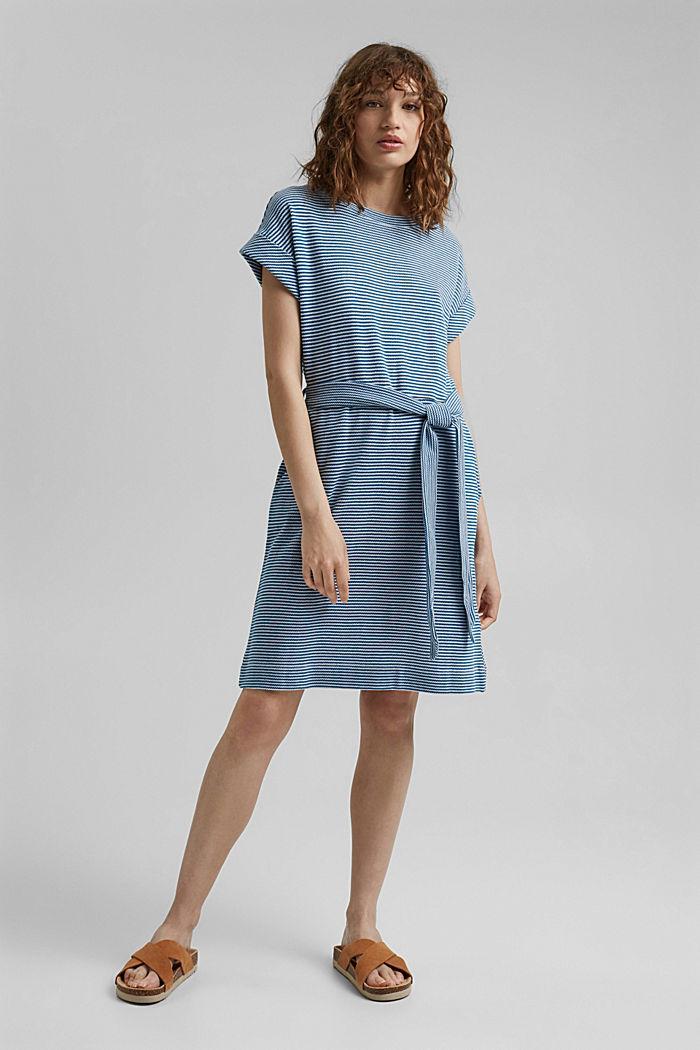 Strukturiertes Jerseykleid, Organic Cotton, BRIGHT BLUE, detail image number 1