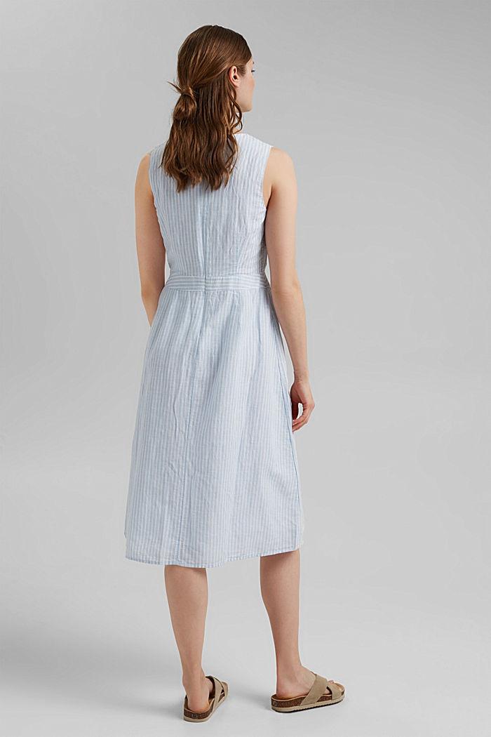 In misto lino: abito a righe dalla linea ad A, LIGHT BLUE, detail image number 2