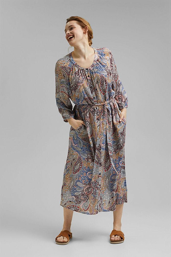CURVY pomačkané halenkové šaty s kašmírovým potiskem, LIGHT BEIGE, detail image number 1