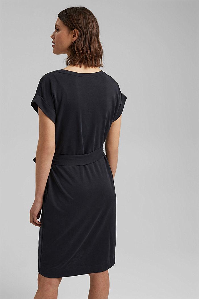 Fließendes Jerseykleid mit Bindegürtel, BLACK, detail image number 2
