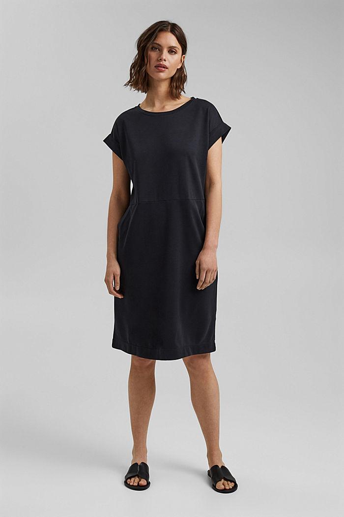 Fließendes Jerseykleid mit Bindegürtel, BLACK, detail image number 1